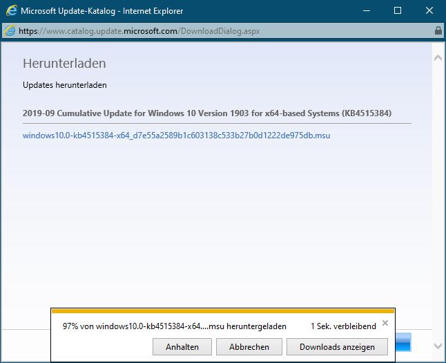 Herunterladen eines Updates über Microsofts Update-Katalog