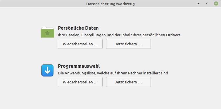 Datensicherungswerkzeug unter Linux Mint