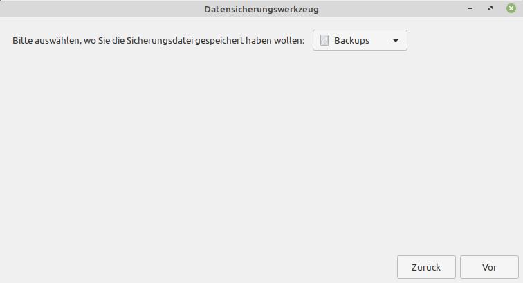 Sicherungsziel unter Linux Mint