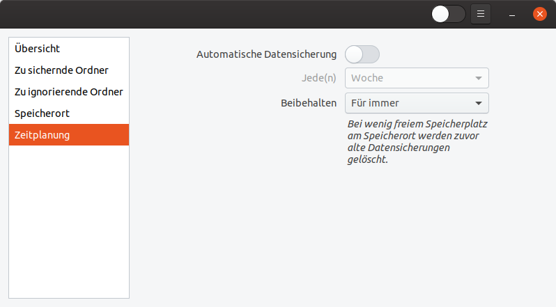 Zeitplanung des Ubuntu-Backups