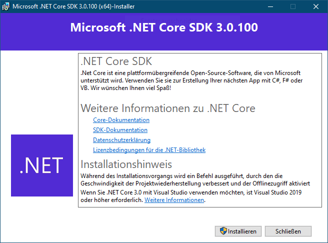 NET Core SDK installieren