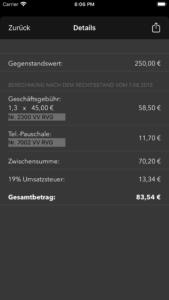Detail-Ansicht des Anwaltkostenrechners