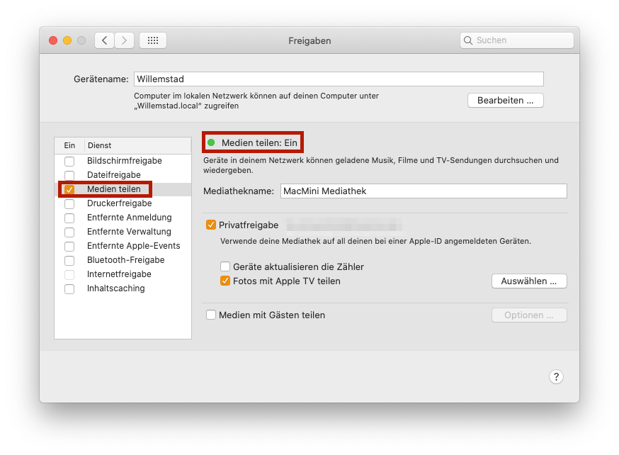 Privatfreigabe in macOS Catalina aktivieren