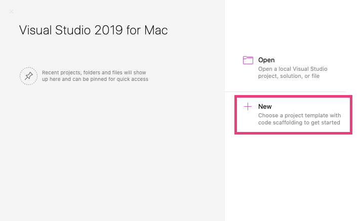 Start a new project in Visual Studio for Mac