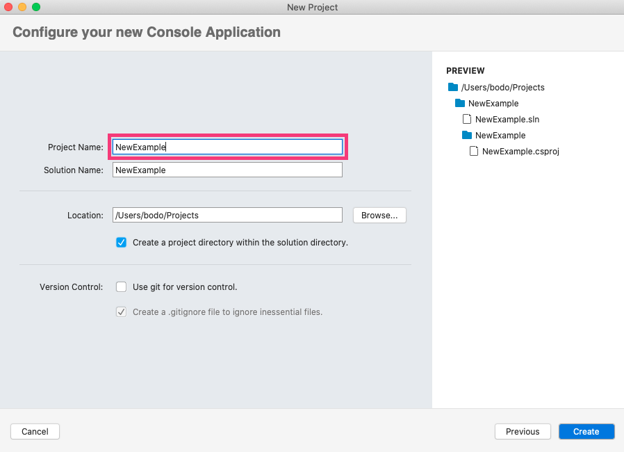 Create a new console application using C#