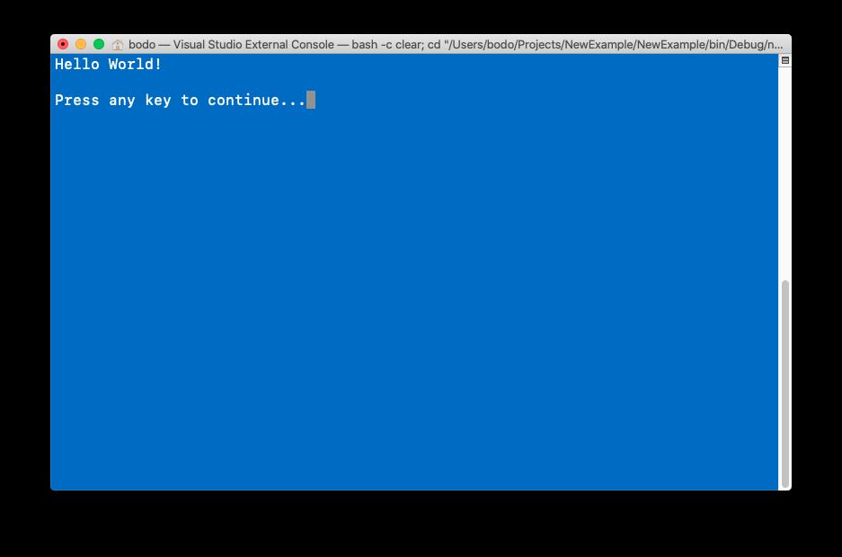 bash executing a C# app