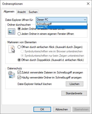 Ordneroptionen unter Windows 10