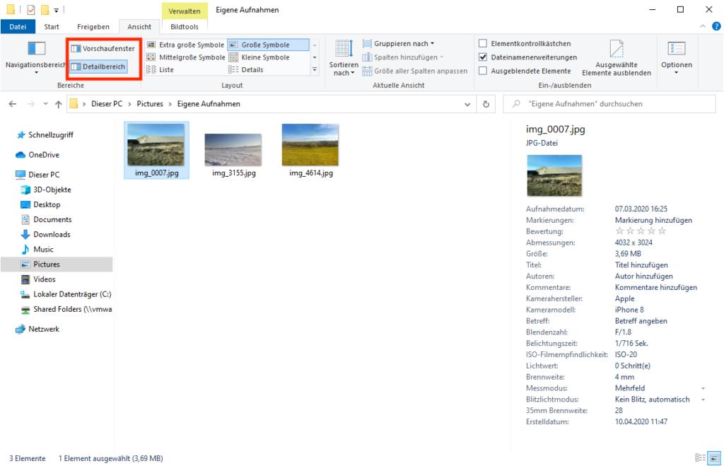 Detailbereich im Datei-Explorer
