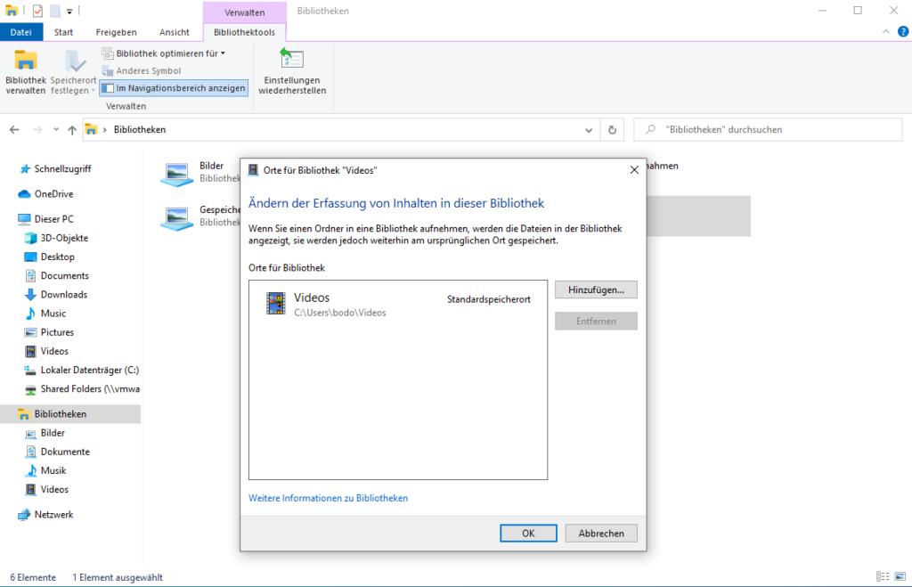 Windows Explorer - Bibliotheken verwalten