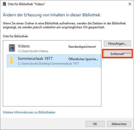 Windows Explorer - Eine Bibliothek entfernen