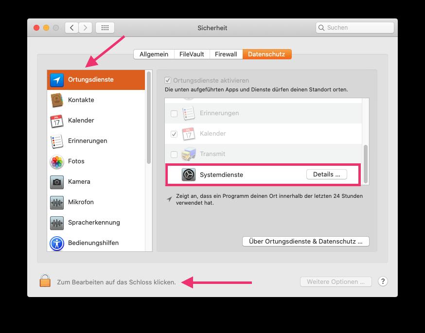 Ortungsdienste in macOS