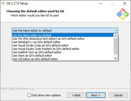 Choose the default editor used by Git