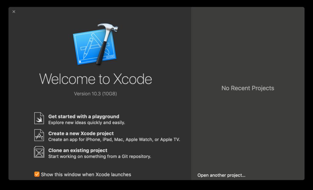 Willkommen-Fenster von Xcode