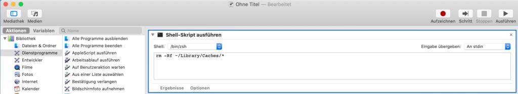 macOS-Arbeitsablauf - Shell-Skript ausführen