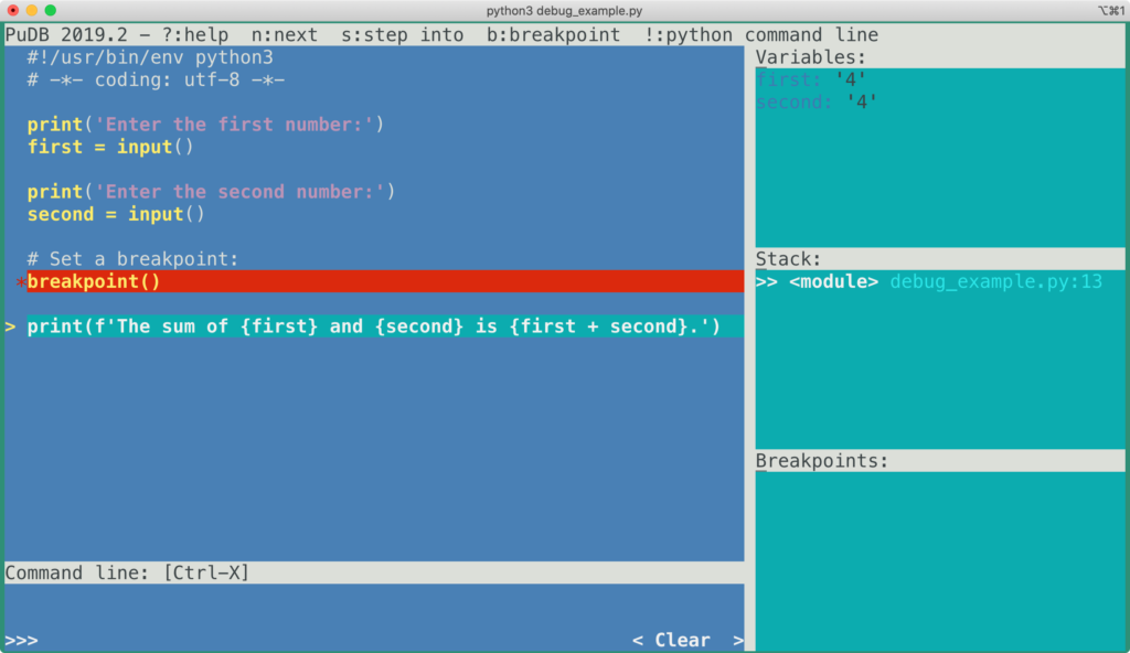 debugging with pudb in the terminal