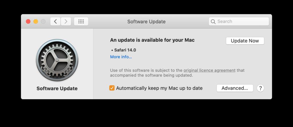 Update Safari in macOS Catalina