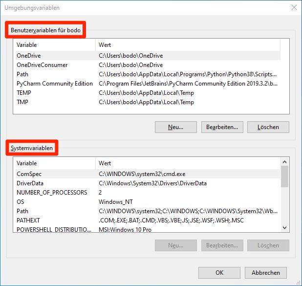 Systemvariablen unter Windows 10