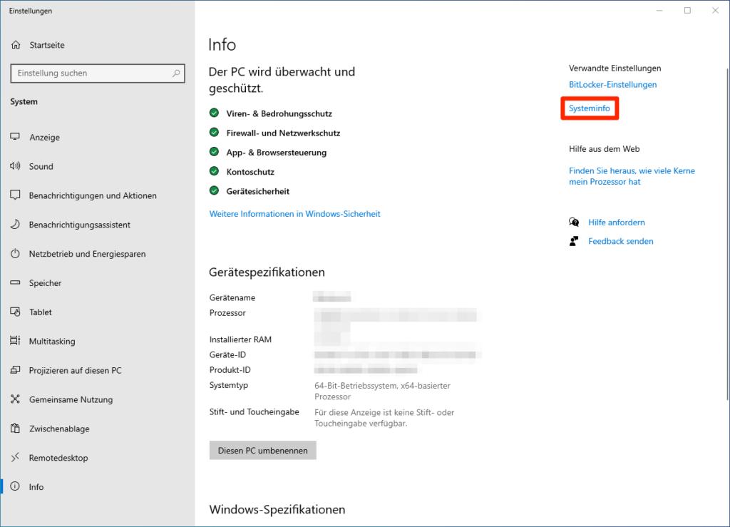 Info-Fenster in den Windows-Einstellungen