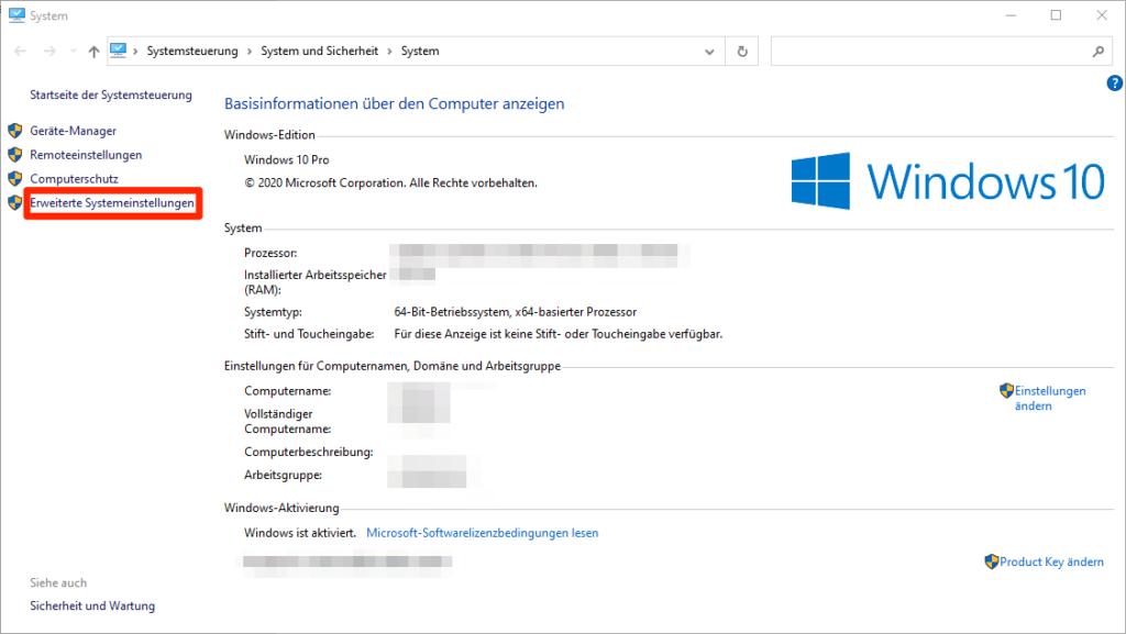 Systeminfo unter Windows 10