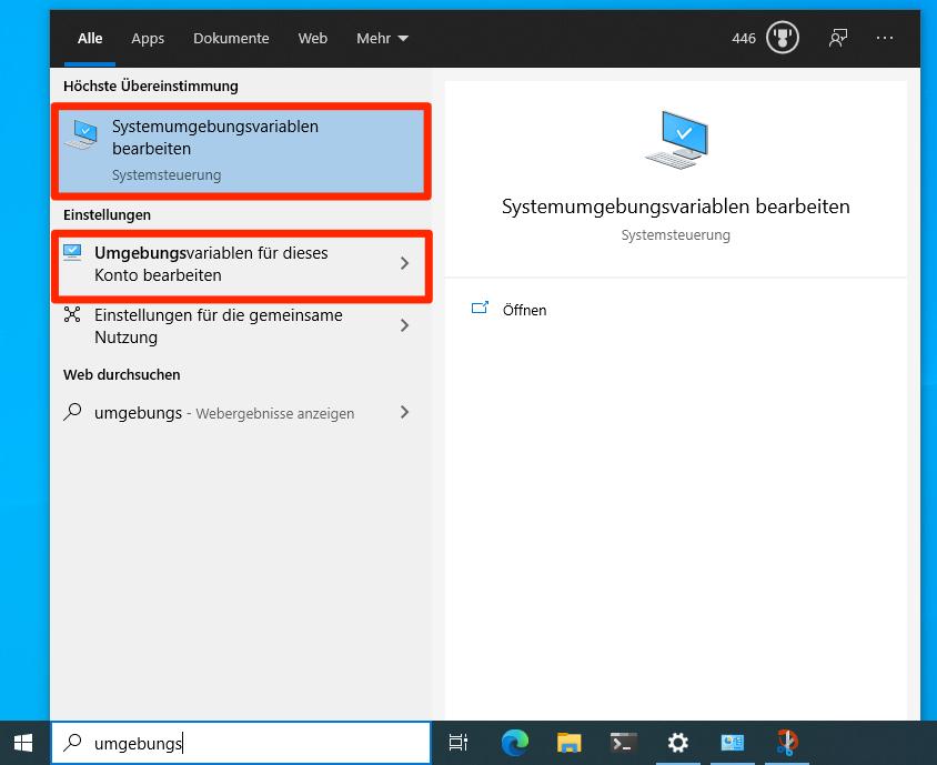 In Windows 10 nach Umgebungsvariablen suchen