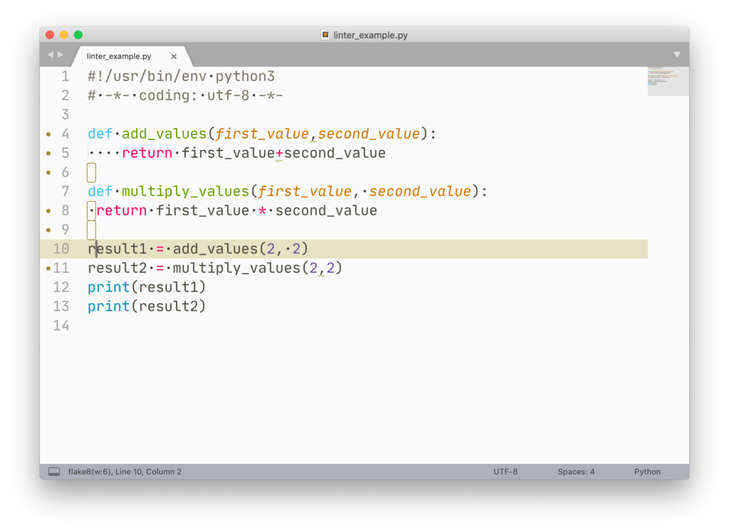 Linting-Hinweise (flake8) in Sublime Text