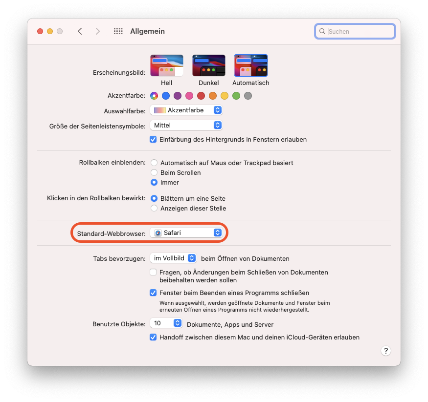Standardbrowser in macOS festlegen