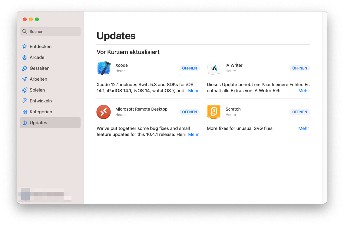 Updates über dem App Store installieren