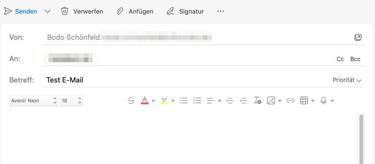 Outlook 16 - E-Mail verfassen