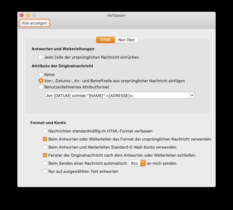 Outlook 16 - Einstellungen für das Verfassen von E-Mails