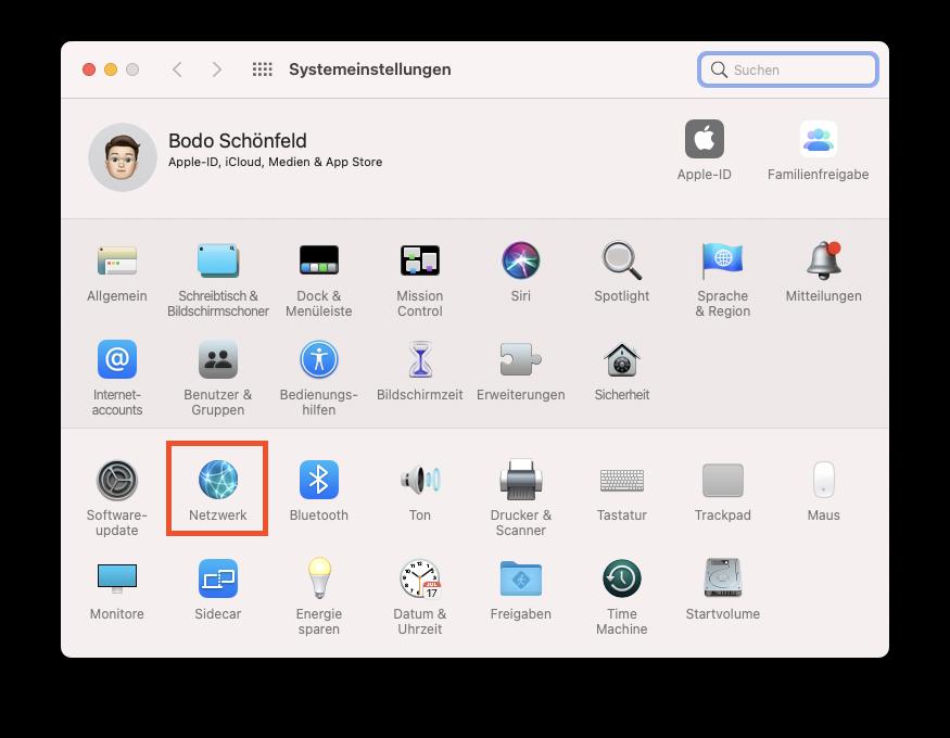 Netzwerk in den Systemeinstellungen von macOS auswählen