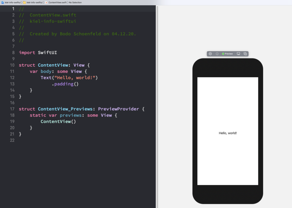 Editor und Preview in Xcode