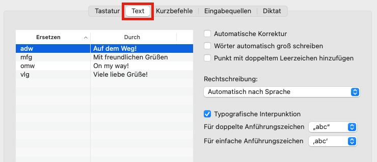 Text-Einstellungen unter macOS