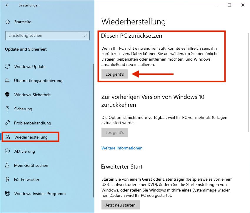 Windows10-Wiederherstellung