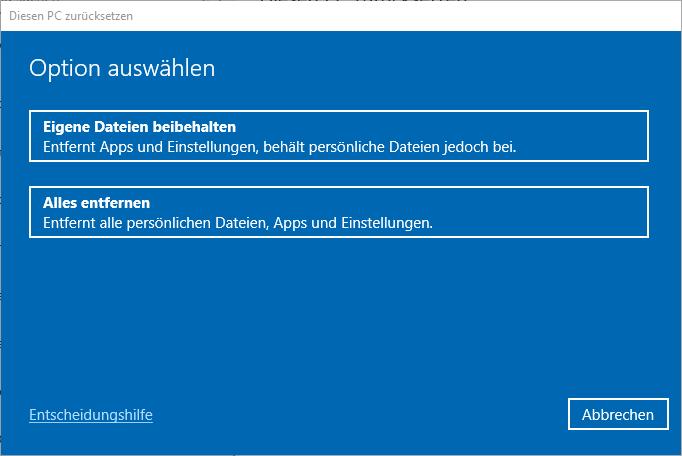 Windows 10 Optionen für das Zurücksetzen