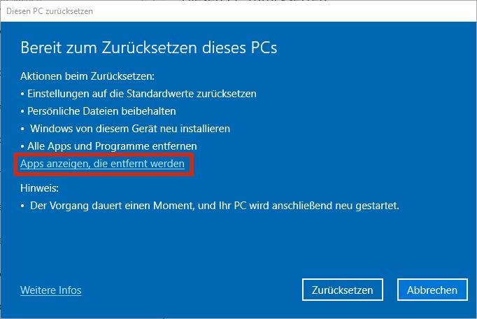 Windows 10 zurücksetzen - Apps anzeigen, die entfernt werden