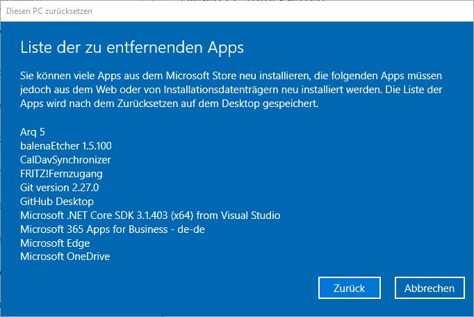 Windows 10 zurücksetzen - Liste mit zu löschenden Apps