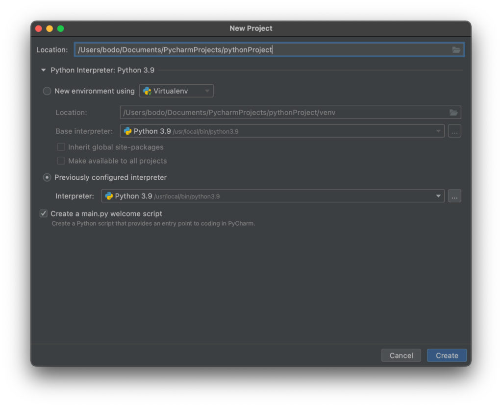 Create new project in PyCharm