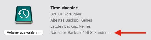 Time Machine startet Datensicherung