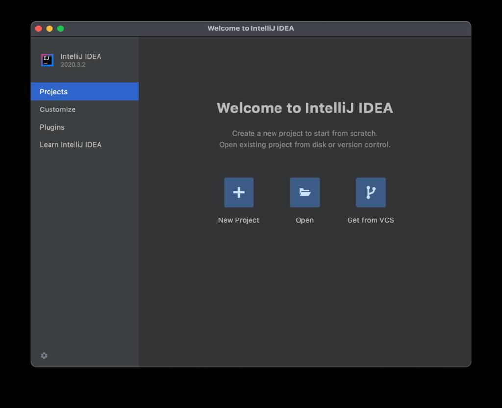Welcome Window of Intellij IDEA
