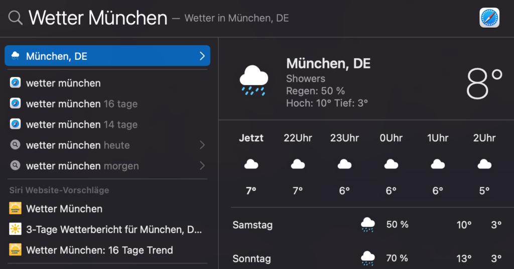 Wettervorhersage mit Spotlight