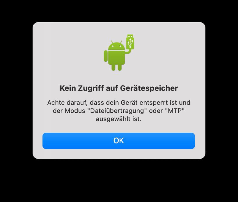 Kein Zugriff auf den Android-Gerätespeicher