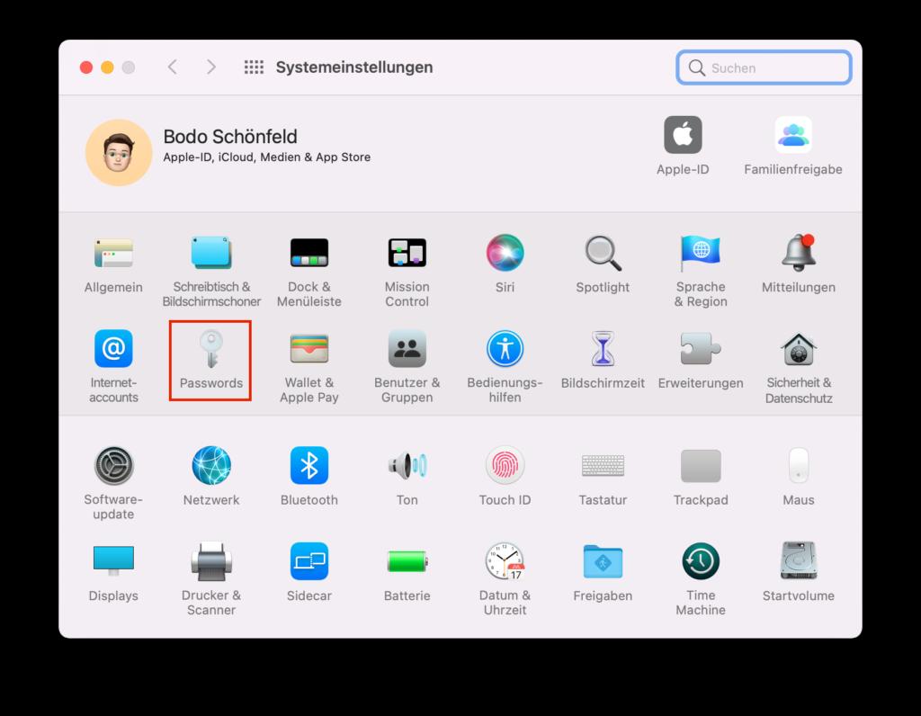 Passwörter in den macOS-Systemeinstellungen