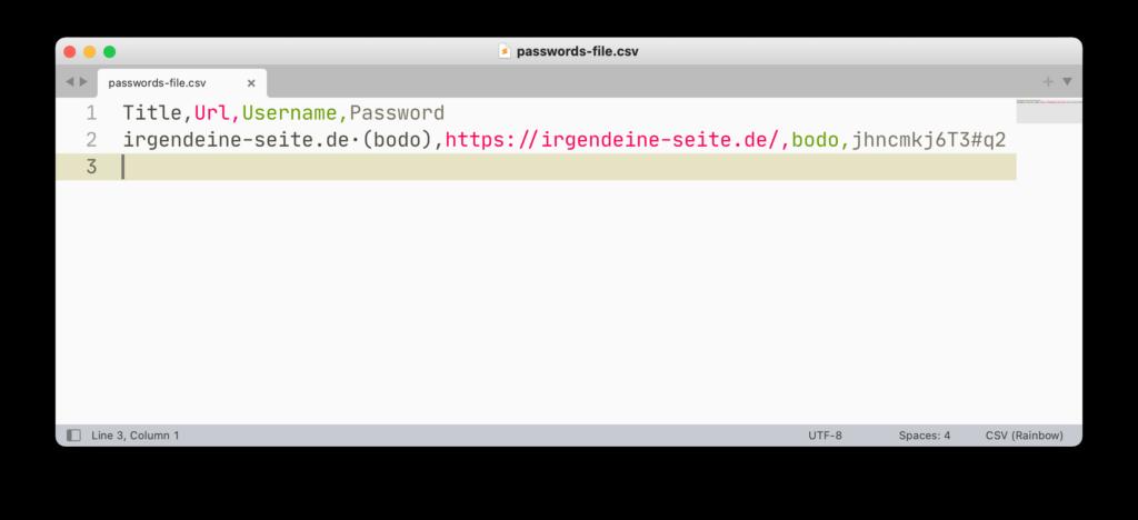 CSV-Datei mit exportierten Zugangsdaten