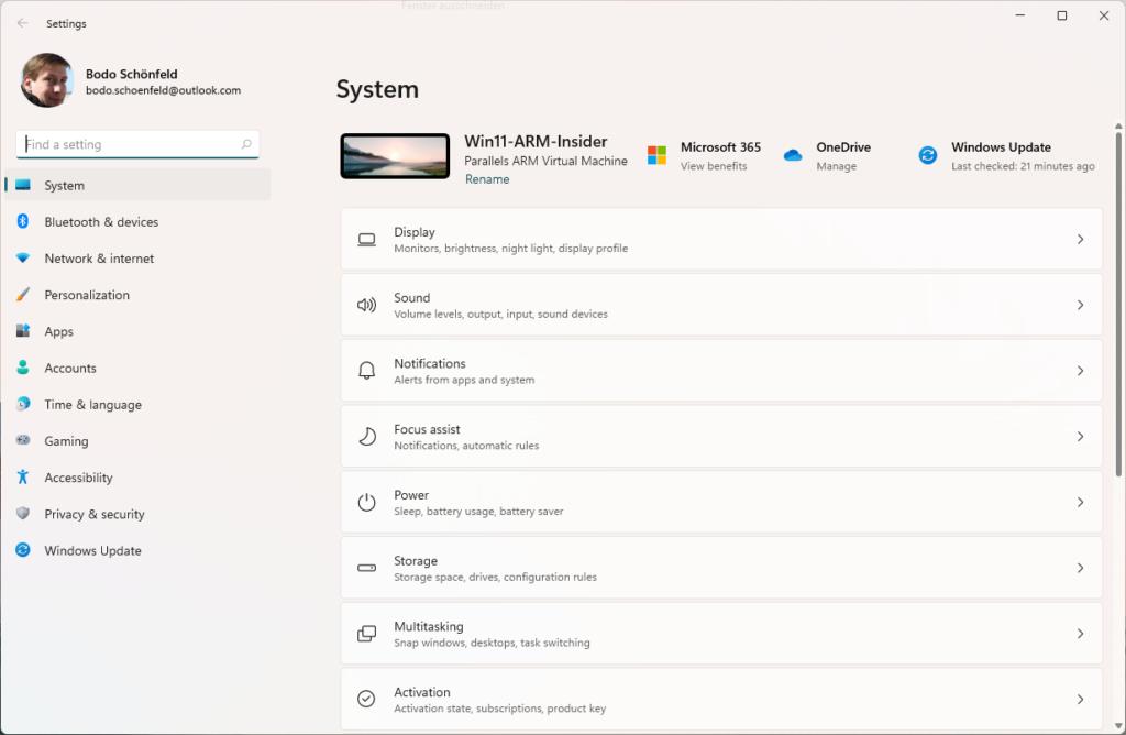 Windows 11 System Settings