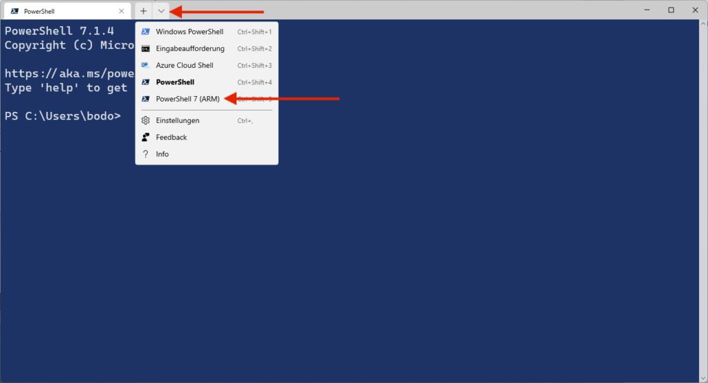 Start PowerShell (ARM) in Windows Terminal