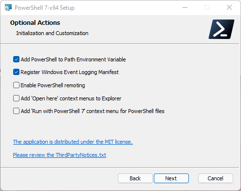 PowerShell Optional Actions