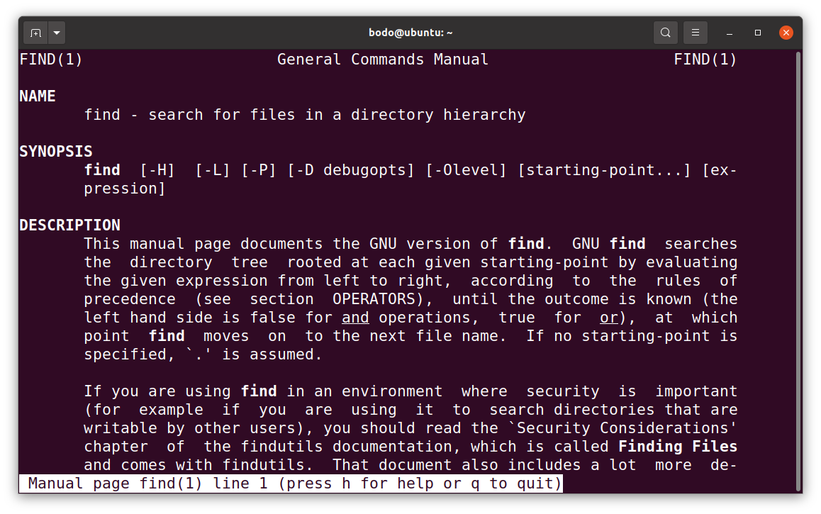 manpage linux find command