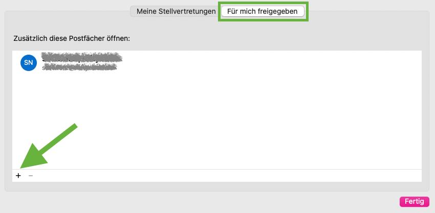 Freigegebenes Postfach in Outlook für macOS hinzufügen