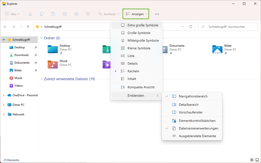 Erscheinungsbild des Datei-Explorers in Windows 11 ändern