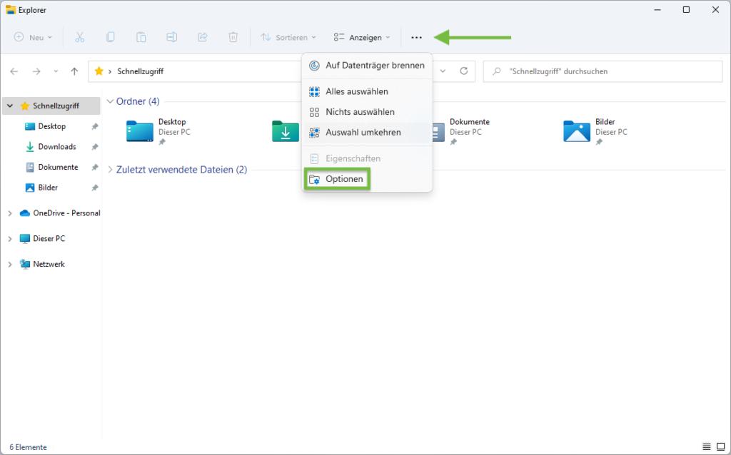 Ordneroptionen im Datei-Explorer von Windows 11 aufrufen